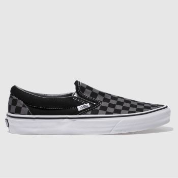 Vans Black & Grey Classic Slip On Mens Trainers#