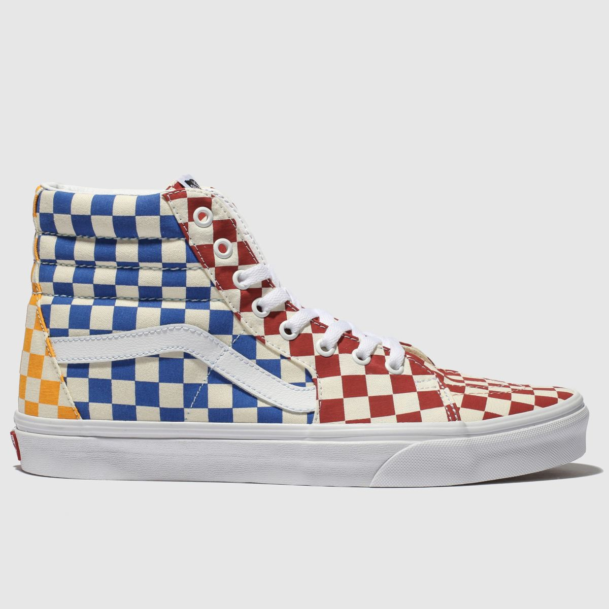 Vans Yellow & Blue Sk8-hi Checkerboard Trainers