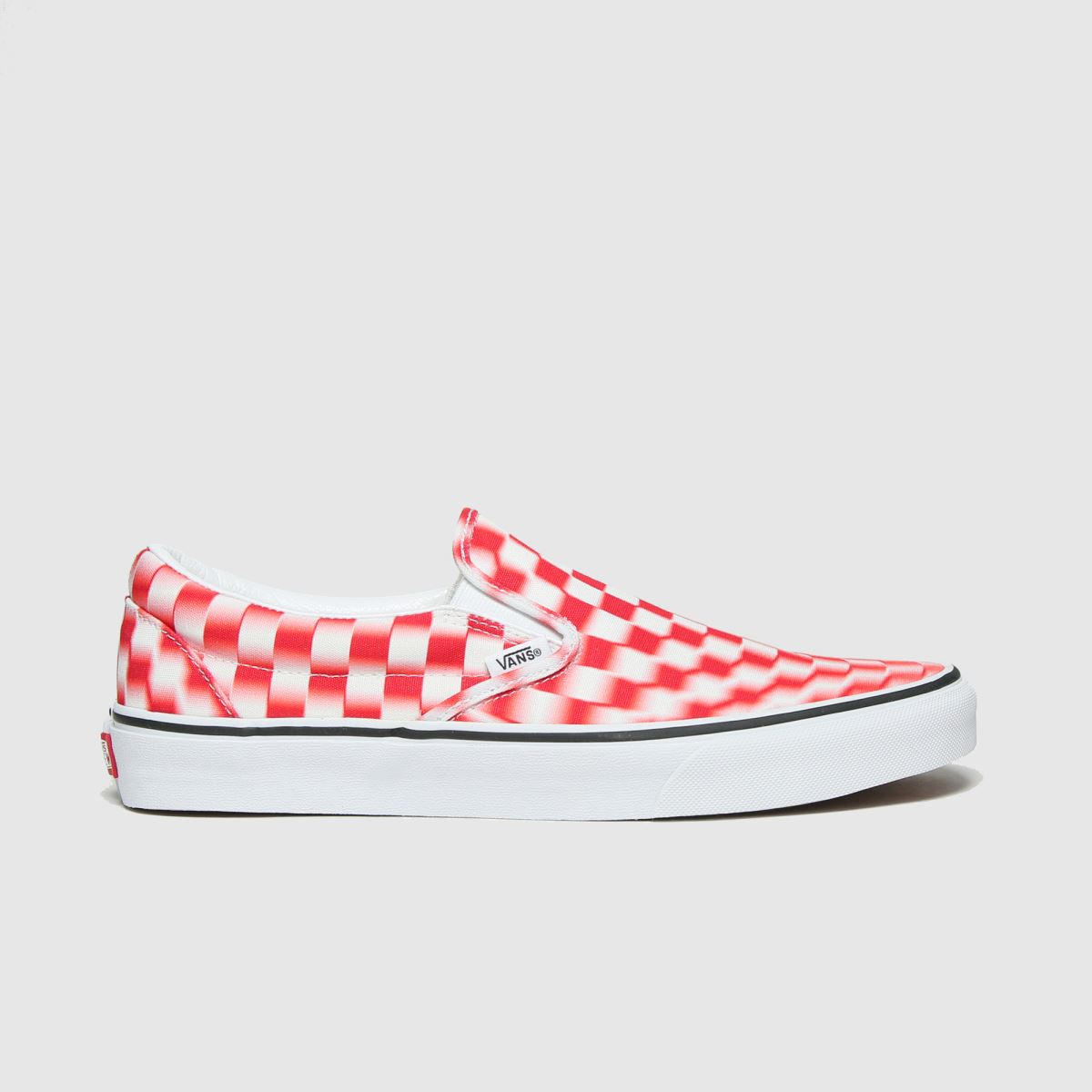 Vans White & Red Classic Slip On Blur Trainers