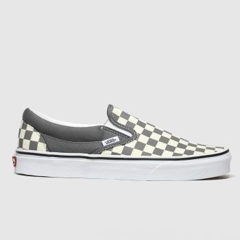 vans white & grey classic slip-on trainers