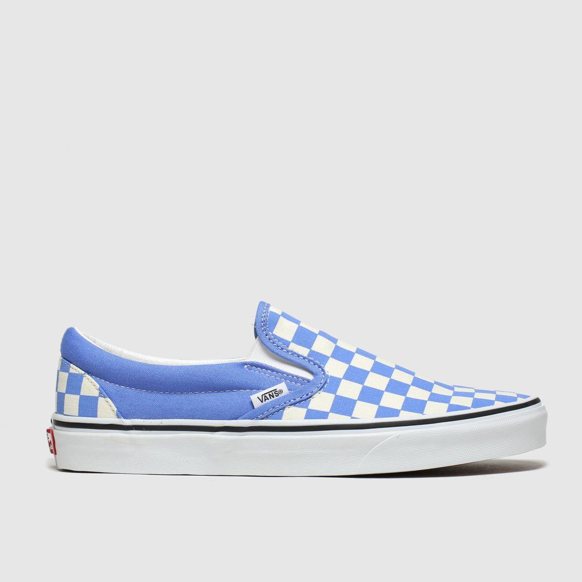 Vans White & Blue Classic Slip-on Trainers