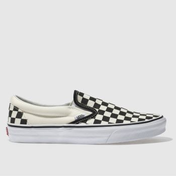 Vans Black & Cream Classic Checkerboard Slip On Mens Trainers#