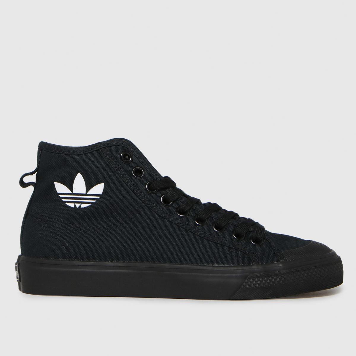 Adidas Black & White Nizza Hi Trainers