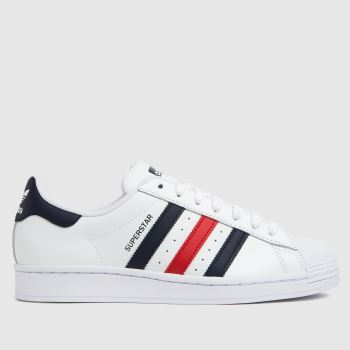 adidas White & Red Superstar Mens Trainers