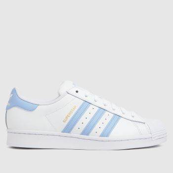 adidas White & Pl Blue Superstar Mens Trainers