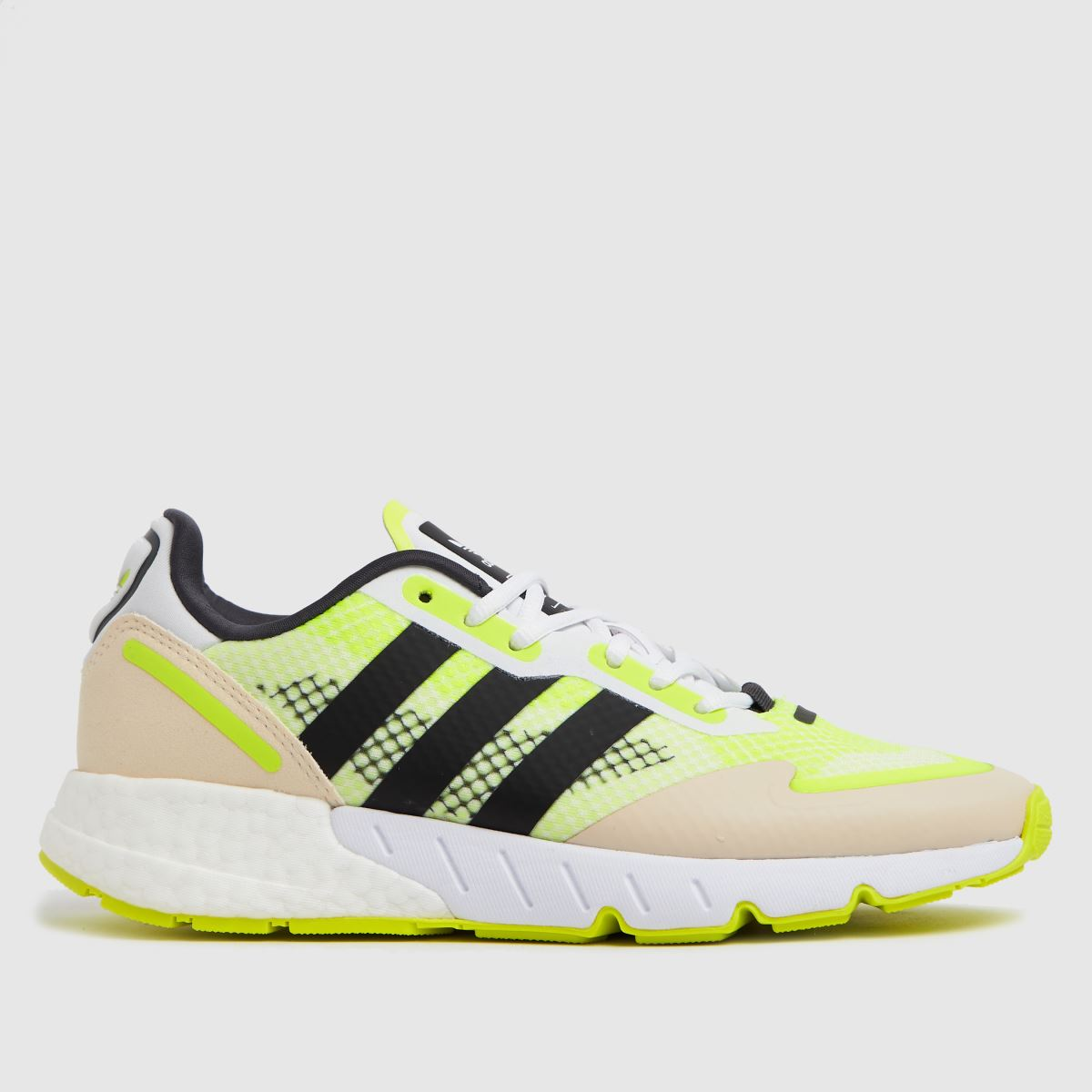 Adidas White & Yellow Zx 1k Boost Trainers