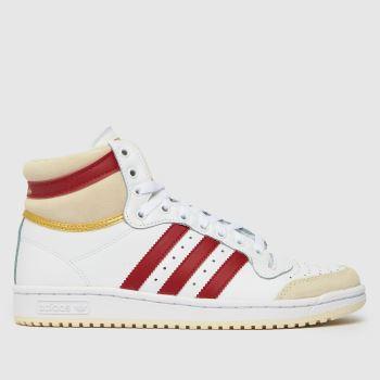 adidas White & Red Adi Top Ten Mens Trainers