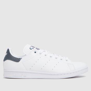 adidas White & Pl Blue Stan Smith Primegreen Mens Trainers