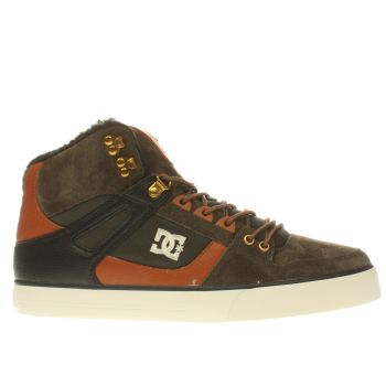 DC SHOES DARK KHAKI & TAN SPARTAN HI WC WINTERISED TRAINERS