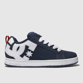 Dc Shoes Navy & White Court Graffik Se Mens Trainers