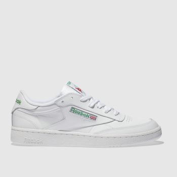 b5acb694f25975 Reebok White   Green Club C 85 Mens Trainers