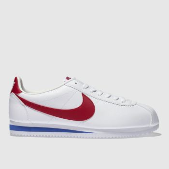 Nike White & Red Cortez Leather Trainers
