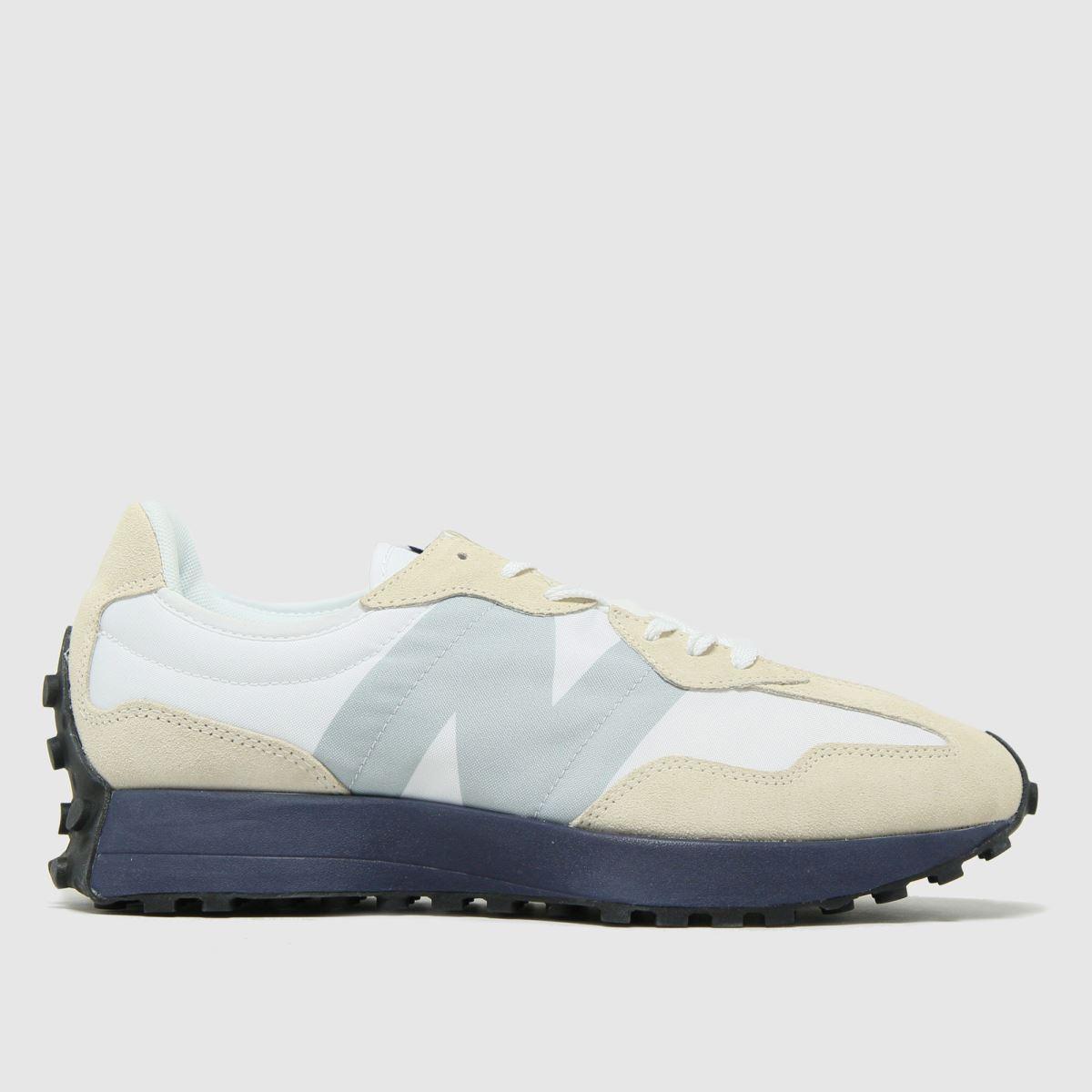 New Balance White & Navy Nb 327 Trainers