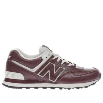 NEW BALANCE BURGUNDY 574 TRAINERS