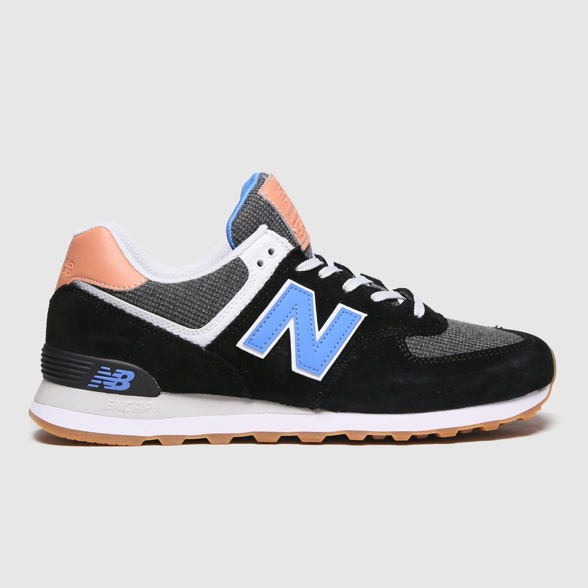 New Balance Black And Blue 574 Trainers