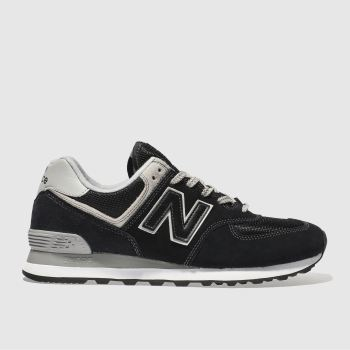 New Balance Black & Grey 574 Trainers