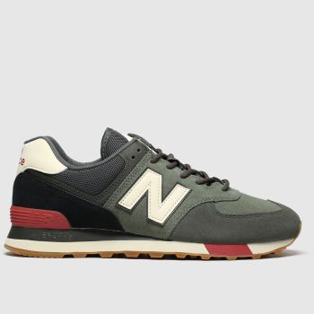 New Balance Black & Green 574 c2namevalue::Mens Trainers