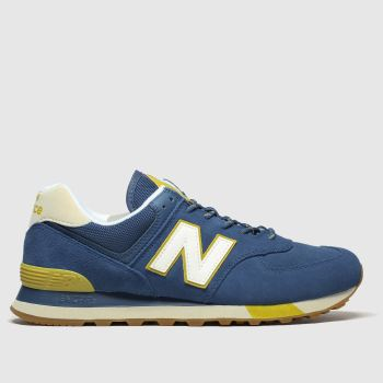 New Balance Blue & Yellow 574 c2namevalue::Mens Trainers
