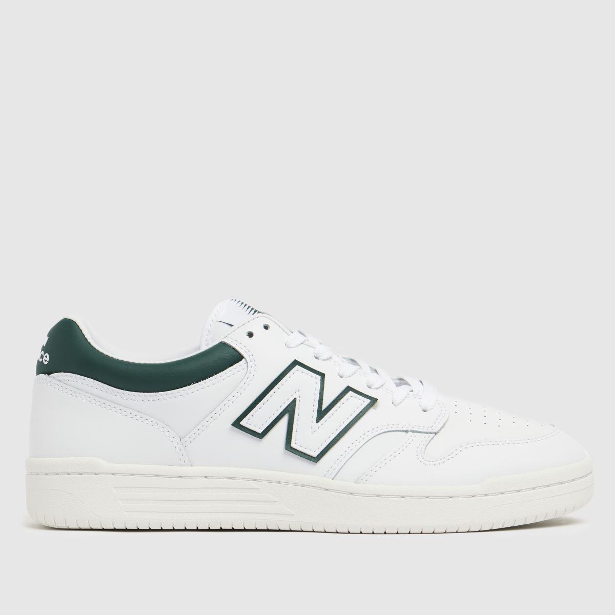 New Balance White & Green 480 Trainers