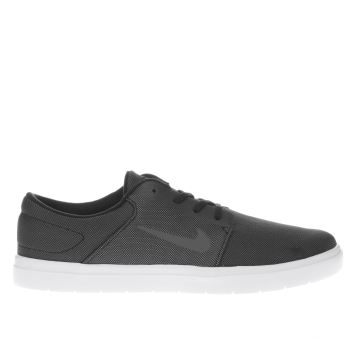 NIKE SB GREY & BLACK PORTMORE ULTRALIGHT TRAINERS