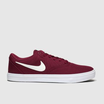 Nike Sb Burgundy Check Solar Trainers