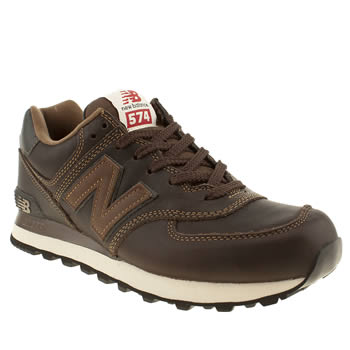 outlet store 07a66 d8953 NEW BALANCE DARK BROWN 574 LEATHER TRAINERS