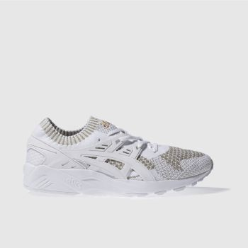 ASICS WHITE & GOLD GEL KAYANO KNIT TRAINERS
