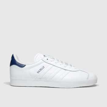 Adidas White & Navy Gazelle Trainers