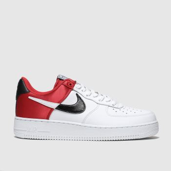 Nike White & Red Air Force 1 07 Lv8 Mens Trainers