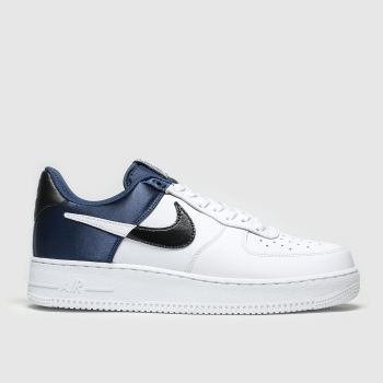 Nike White & Navy Air Force 1 07 Lv8 Mens Trainers