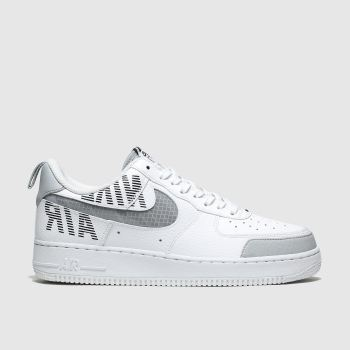Nike White & grey Air Force 1 07 Lv8 Mens Trainers