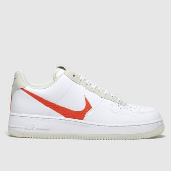 Nike White & Orange Air Force 1 07 Lv8 Mens Trainers