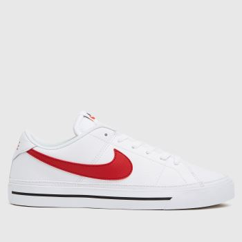 Nike White & Red Court Legacy Mens Trainers