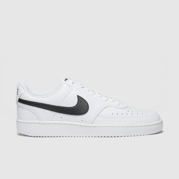 Nike White & Black Court Vision Low Mens Trainers