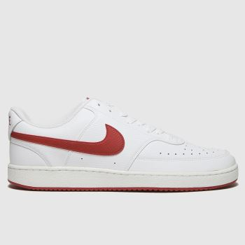 Nike White & Red Court Vision Low Mens Trainers