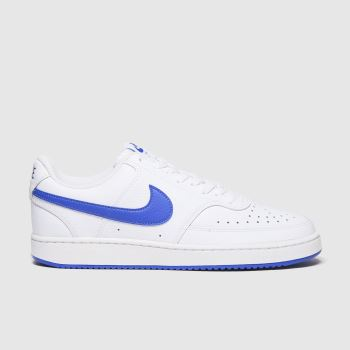 Nike White & Blue Court Vision Low Mens Trainers