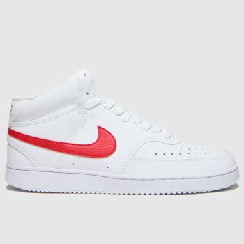 Nike White & Red Court Vision Mid Mens Trainers
