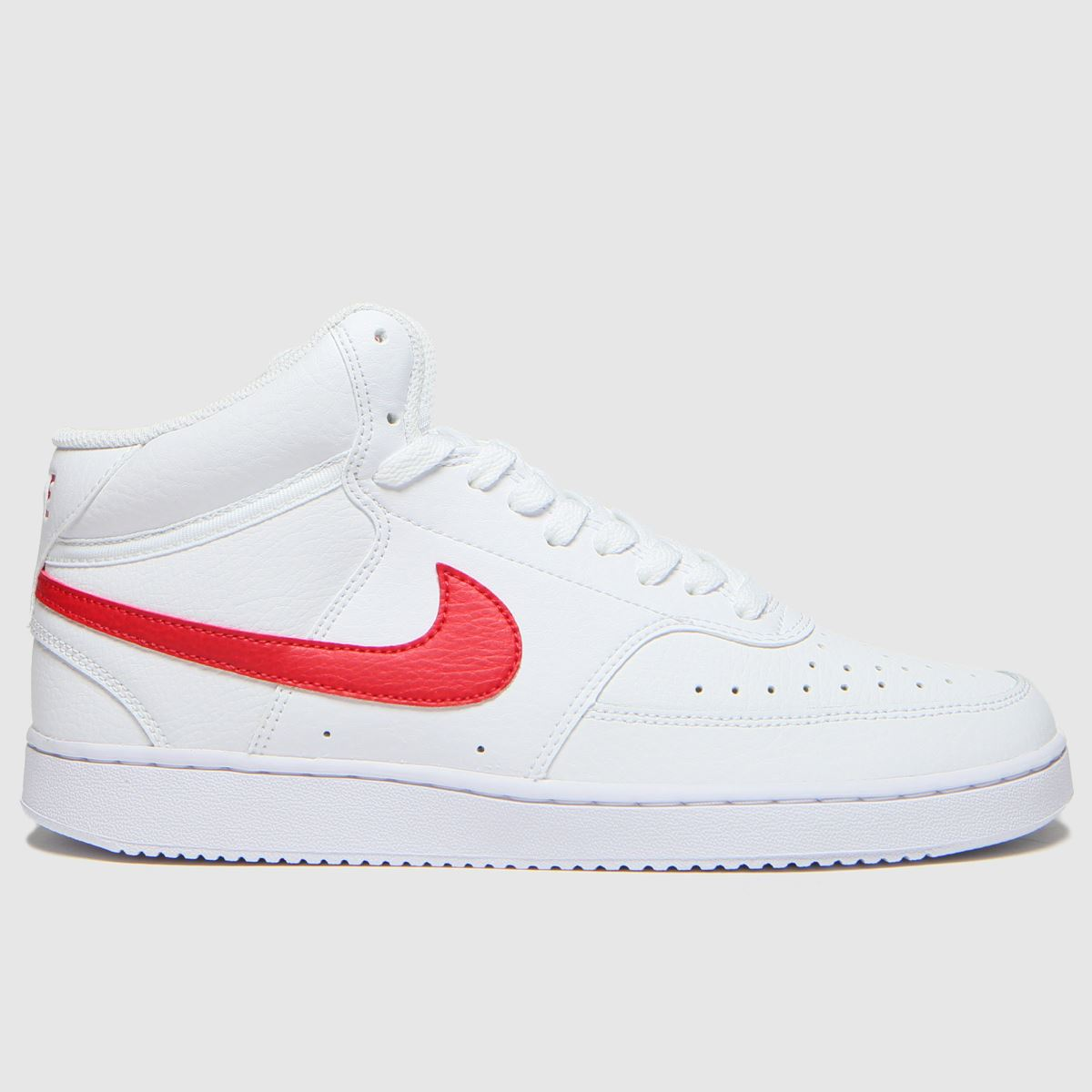 Nike White & Red Court Vision Mid Trainers