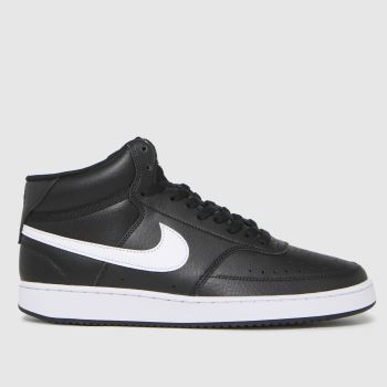 Nike Black & White Court Vision Mid Mens Trainers