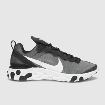 Nike Black & White React Element 55 Mens Trainers