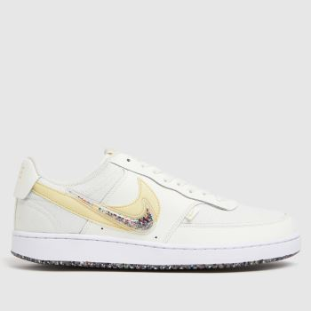 Nike White & Yellow Court Vision Low Premium Mens Trainers