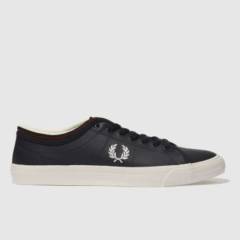 Fred Perry Navy Kendrick Tipped Cuff Leather Mens Trainers