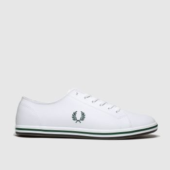 Fred Perry White & Green Kingston Leather Mens Trainers#
