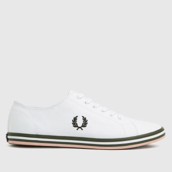 Fred Perry White & Green Kingston Twill Mens Trainers