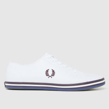 Fred Perry White & Burgundy Kingston Leather Mens Trainers