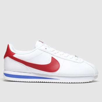 Nike White & Red Classic Cortez Mens Trainers