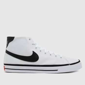 Nike White & Black Court Legacy Mid Mens Trainers