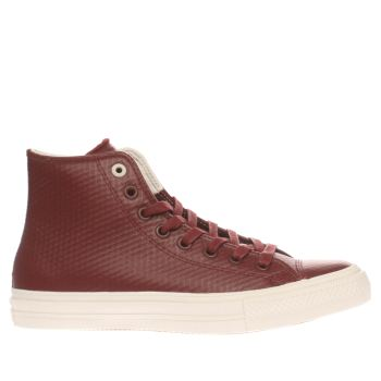 CONVERSE BURGUNDY ALL STAR II HI MESH LEATHER TRAINERS