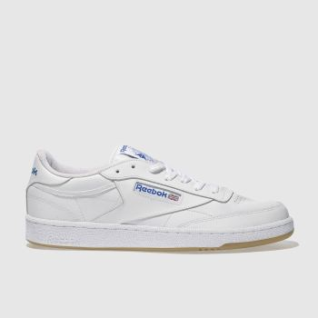Reebok White & Navy Club C 85 Mens Trainers#