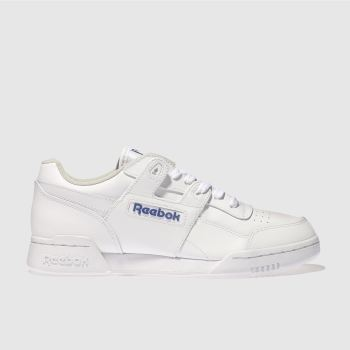 Reebok White   Blue Workout Plus Mens Trainers b9999f140